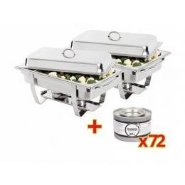 2 Chafin dish GN 1/1 + 72 recargas de combustible