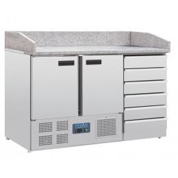 Mesa de preparación pizza 2 puertas y cajones 1420x700x1060mm