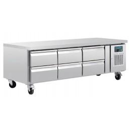 mesa refrigerada baja con 6 cajones