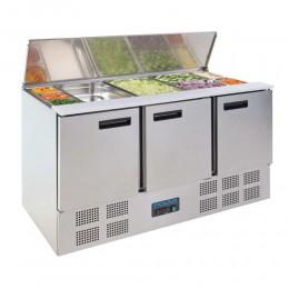 Mesa de preparación de ensaladas 3 puertas 1370x700x885mm