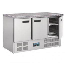 Mostrador refrigerado encimera mármol 3 puertas 1370x700x880mm