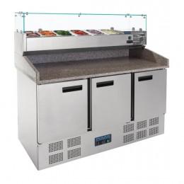 Mostrador de preparación 3 puertas con expositor de ingredientes