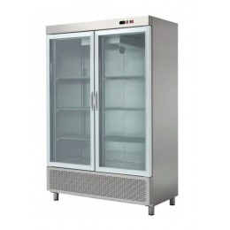 Armario expositor refrigerado 1200L 2 puertas acero inoxidable