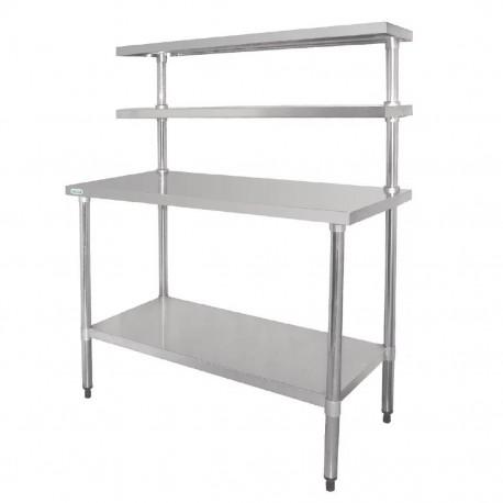 Mesa de acero inoxidable 1800mm con estantes superiores