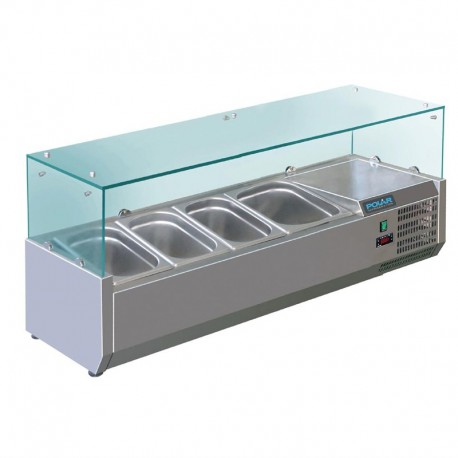 Vitrina de ingredientes 1200mm 3 GN 1/3 + 1 GN 1/2