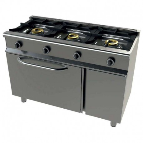 Cocina gas 3 fuegos con horno 1200x550x850mm
