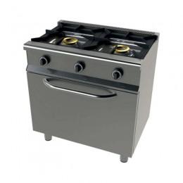 Cocina gas 2 fuegos con horno 800x550x850mm