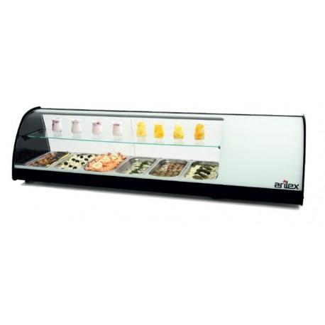 Vitrina refrigerada de tapas doble 6 bandejas incluídas