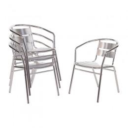 Juego de 4 sillas brazos de aluminio apilables