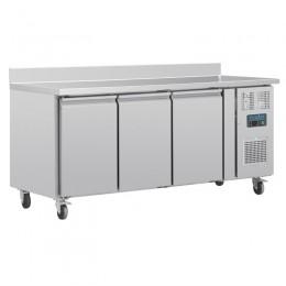 Mesa refrigerada GN de 3 puertas 1795x700x950mm con peto posterior
