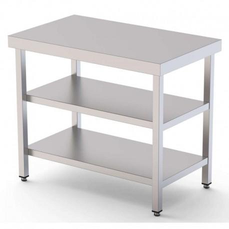 Mesa de trabajo central 1500mm acero inoxidable con 2 estantes