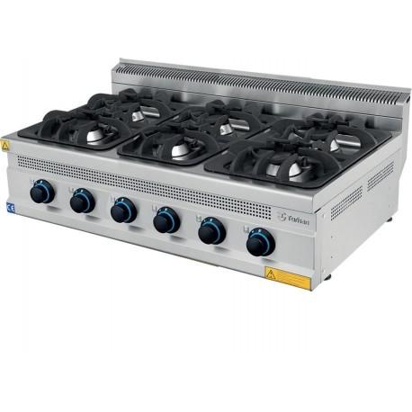Cocina gas sobremesa 6 fuegos 1200x700x300mm