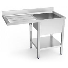 Fregadero industrial con hueco para lavavajillas y estante inferior 1200mm