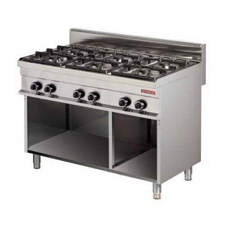 Cocina gas 6 fuegos con mueble 1200x700x900mm